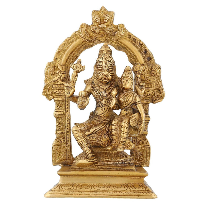 Religious Statue Lord Narasimha And Lakshmi Ma Indian Décor Brass 7.5 Inch1.75 Kg