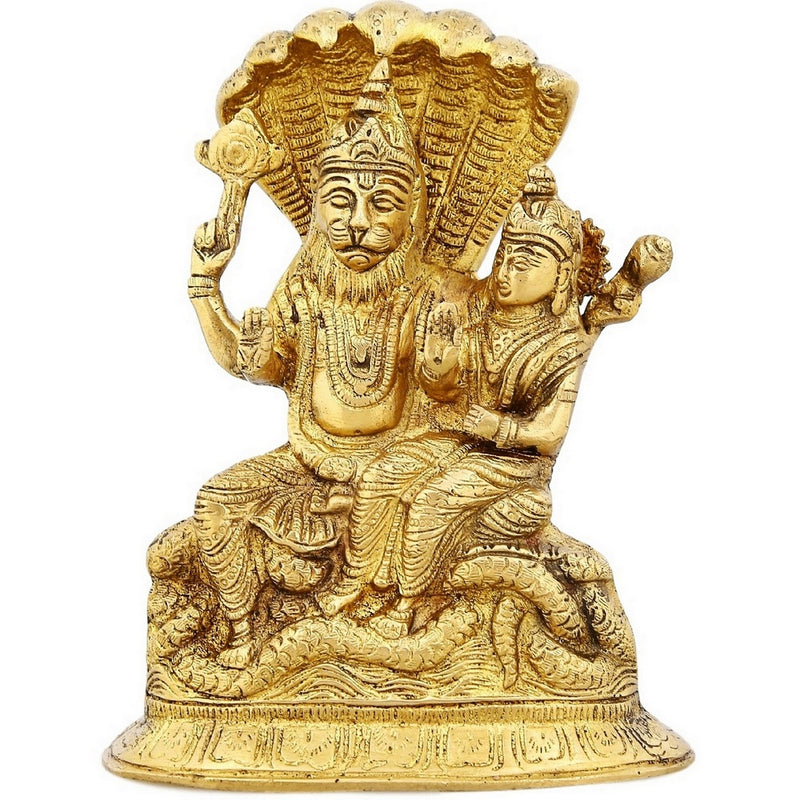 Indian Art Brass Statue Lakshmi Goddess of Wealth Home Décor Hinduism For Puja 7.75 Inch