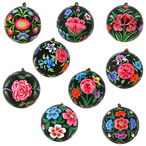 Christmas Tree Ornaments Floral Décor Black Paper Mache Balls Set of 9