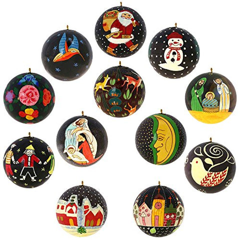 Set of 12 Black Paper Mache Christmas Ornaments Handmade in Kashmir, India