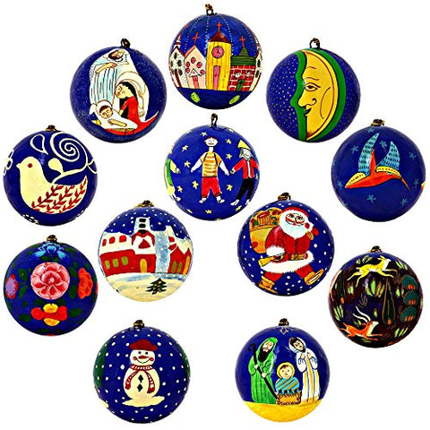 Christmas Tree Ornaments Blue Décor Paper Mache Balls Set of 12