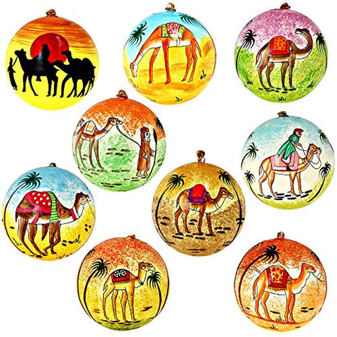 Set of 9 Camel Dessert Paper Mache Christmas Ornaments Handmade in Kashmir, India, 3 Inches