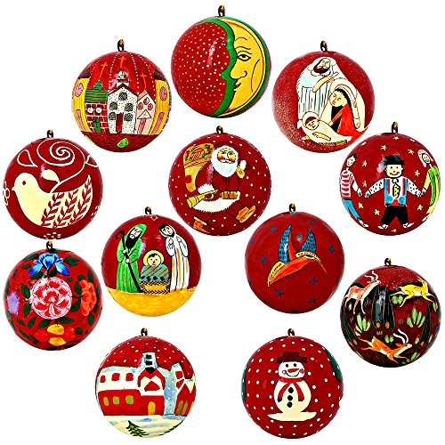 Set of 12 Bright Red Paper Mache Christmas Ornaments Handmade in Kashmir, India