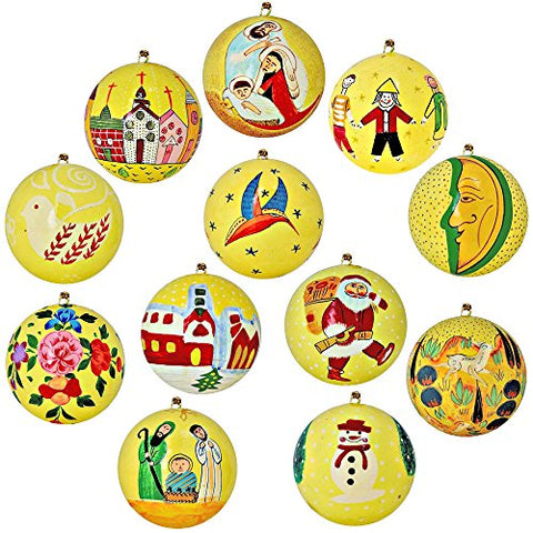 Set of 12 Yellow Paper Mache Christmas Ornaments Handmade in Kashmir, India, 3 Inches
