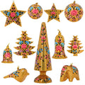 5 Sets of 11 Gold Floral Paper Mache Party Ornaments - Handmade Indian Gifts