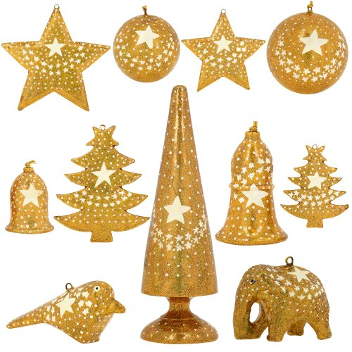 Set of 11 Gold Star Paper Mache Christmas Ornaments - Handmade Indian Gifts