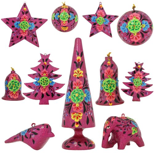 Set of 11 Purple Floral Paper Mache Christmas Ornaments - Handmade Indian Gifts