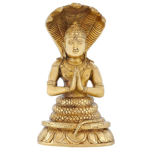 Indian Art Home Decoration Religious Gifts Patanjali Statue Brass Hindusim 8 Inch,2.1 Kg