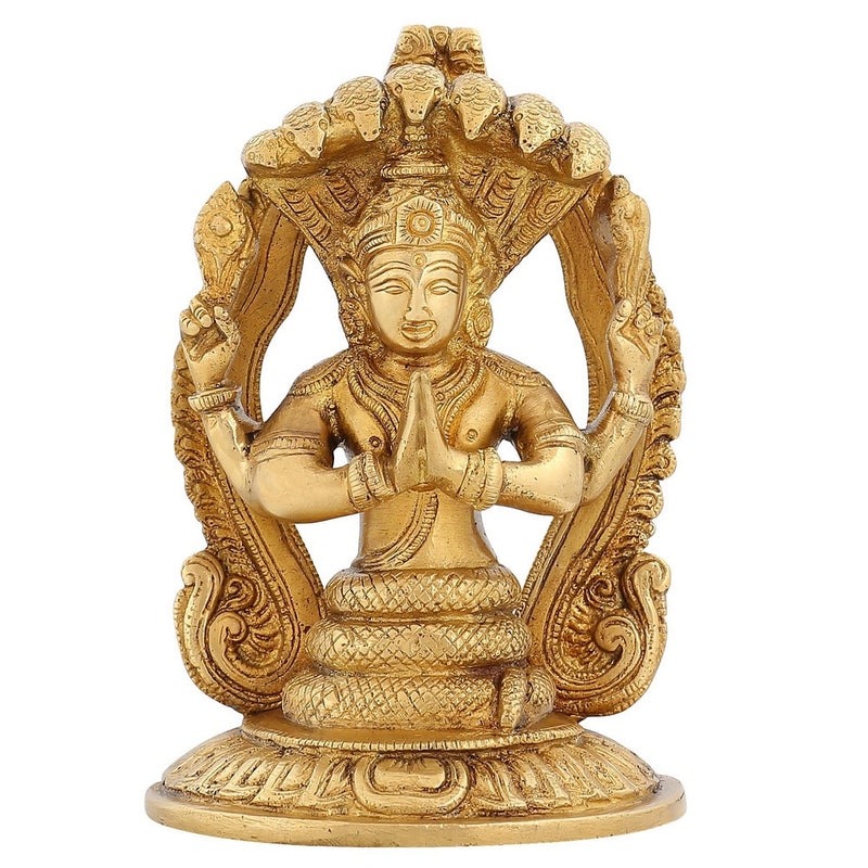 Hinduism Indian Art Home Decoration Religious Gifts Patanjali Statue Brass 7 Inch 1.8 Kg