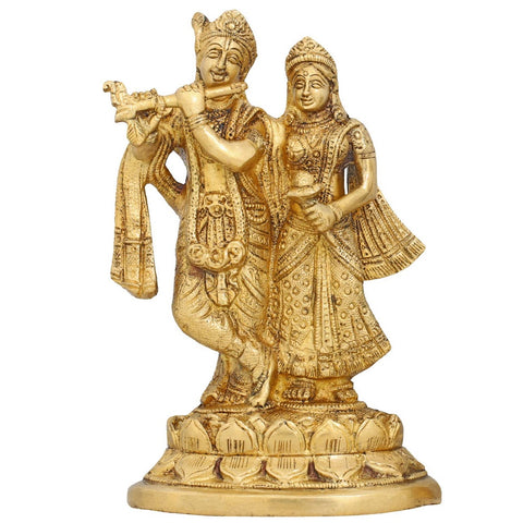 Hindu Statue Radha and Krishna Brass Figurine Sculpture for Home Décor 7 Inch