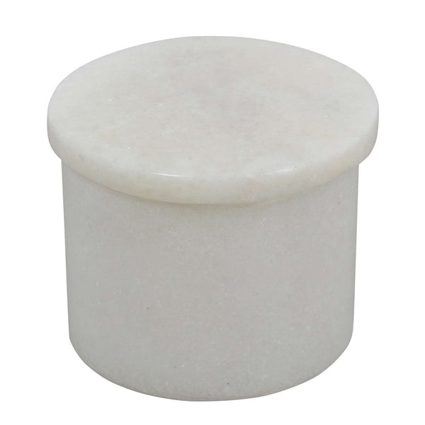 White Marble Art Small Round Jewelry Box for Rings, Special Gift for Girlfriend