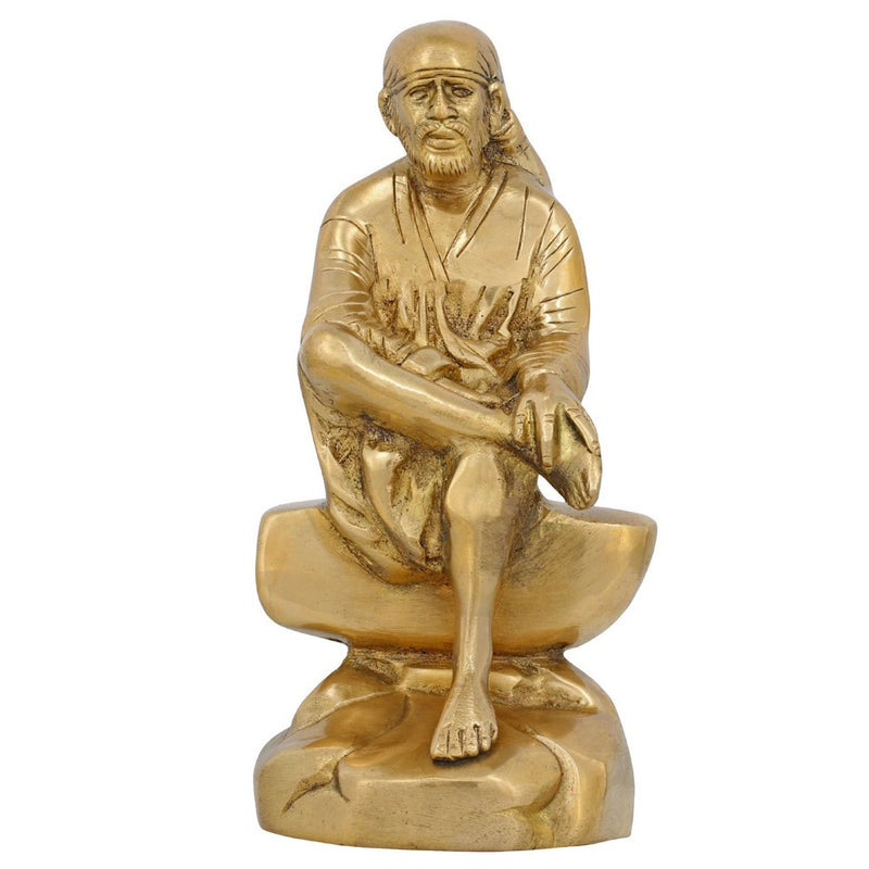 Hindu Décor Indian Idol Shirdi Sai Baba Figurine Sculpture Brass 6 Inch