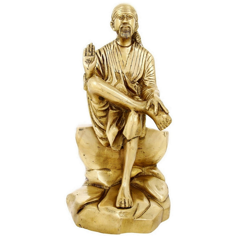 Indian Art Religious Gift Brass Sculpture Of Shirdi Sai Baba Large 12 Inch5.8 Kg