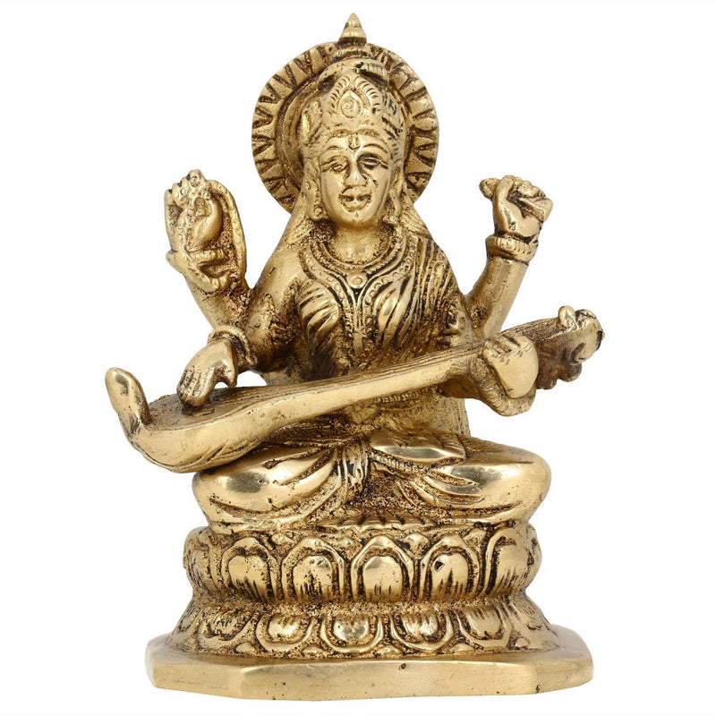 Hindu Home Decoration Seated Goddess Saraswati Brass Statue Religious H: 5.5 Inch W: 1.62 Kg