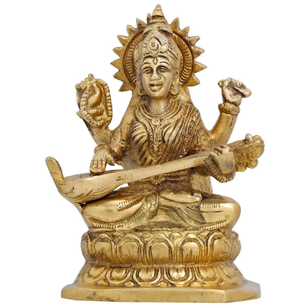 Small Brass Statue Goddess Saraswati Brass Idol for Puja Mandir, H: 5.5 Inches, W: 1.2 Kg