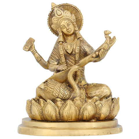 Indian Art Hinduism Goddess Saraswati Brass Statue Religious Indian Gifts Home Décor 7.5'Inch
