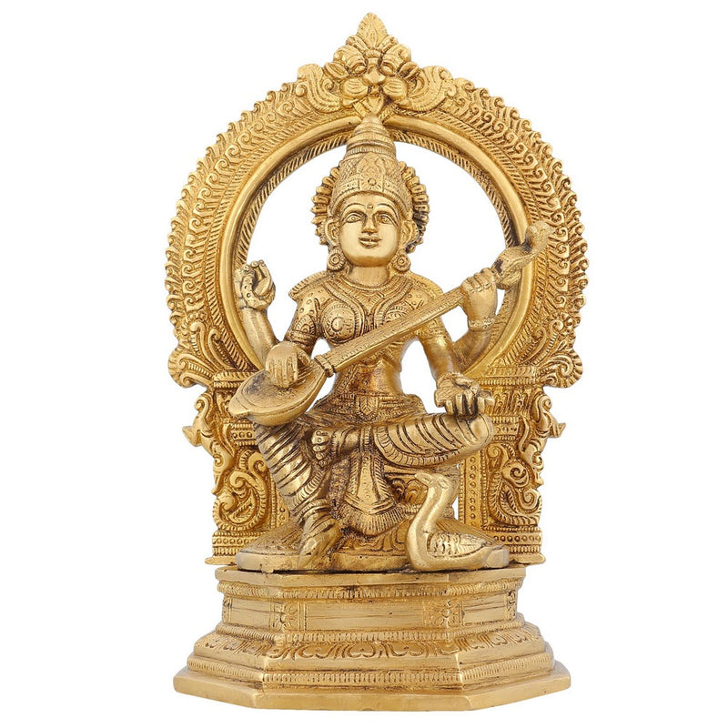 Religious Sculpture Goddess Saraswati Brass Indian Home Décor 9.75 inch2.8 Kg