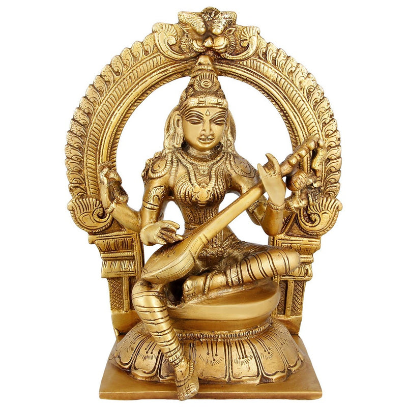 Goddess Saraswati Religious Sculpture Brass Indian Home Decor 9 inch 2.9 Kg