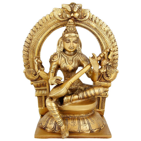 Goddess Saraswati Religious Sculpture Brass Indian Home Décor 9 inch,2.9 Kg