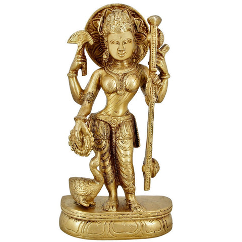 Goddess Of Art And Knowledge Saraswati Mata Brass Statue For Puja 7.5 inch,1.6 Kg