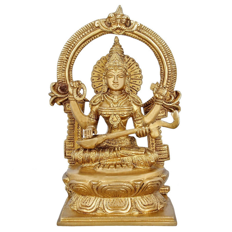 Indian Art Religious Gifts Hinduism Statue Goddess Saraswati Brass For Puja 10 inch 3.1 Kg