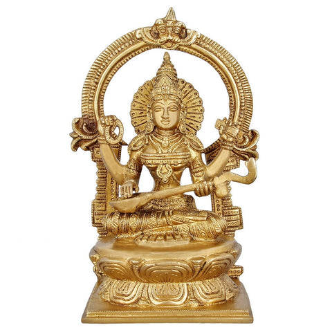Indian Art Religious Gifts Hinduism Statue Goddess Saraswati Brass For Puja 10 inch,3.1 Kg