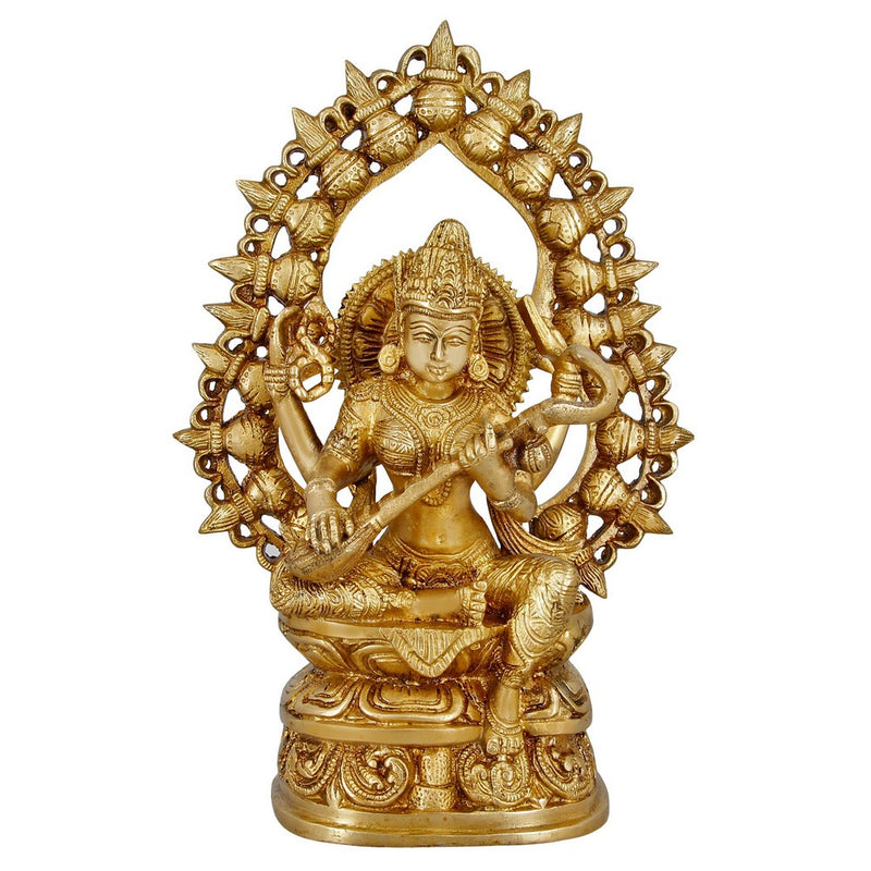 Religious Gifts Hindu Decor Goddess Saraswati Brass Statue Indian Art 10 Inch 2.7 Kg