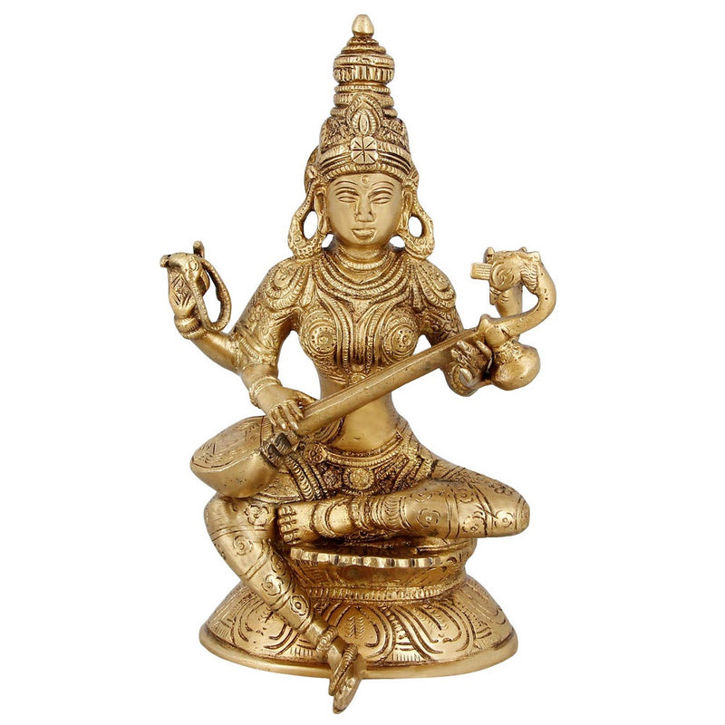Religious Brass Figurines For Puja Goddess Saraswati Hindu Decor 8 Inch 1.62 Kg
