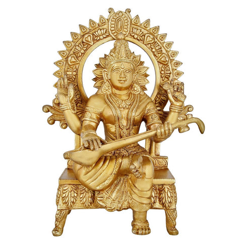 Indian Art Hinduism Symbol Brass Statue Goddess Saraswati For Puja 11 Inch,4 Kg