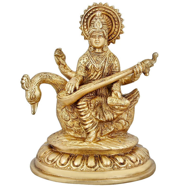 Hinduism Statue Goddess Saraswati Brass Religious Gifts Home Decor 6 Inch 1.5 Kg