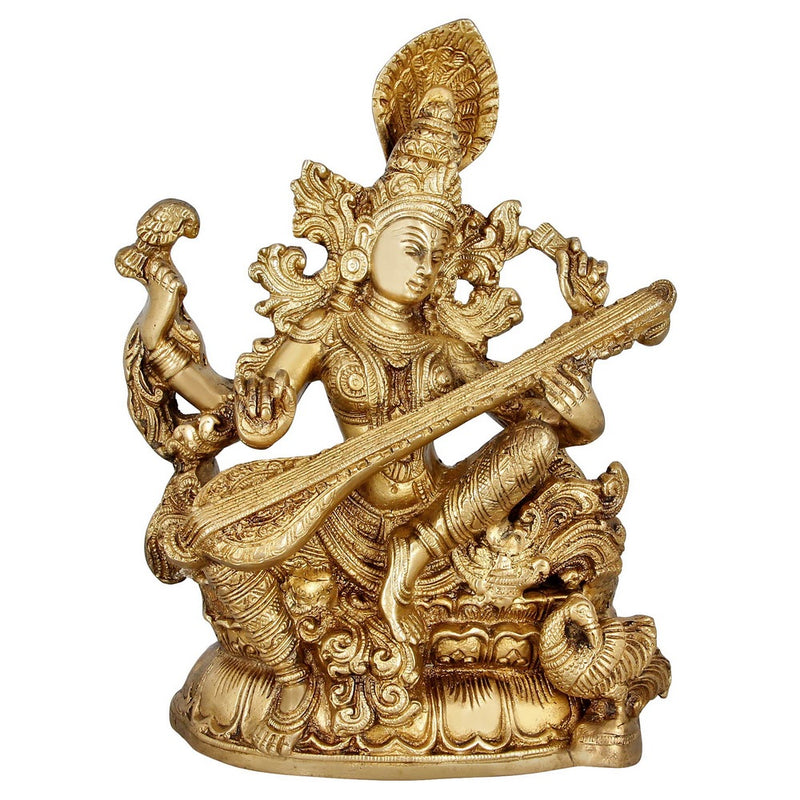 Religious Gifts Indian Art Hinduism Décor Goddess Saraswati Brass Statue 11 Inches 5.2 Kg