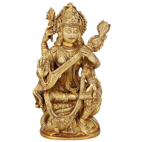 Goddess Saraswati Religious Gifts Hinduism Décor Brass Statue 7 Inches,1.5 Kg