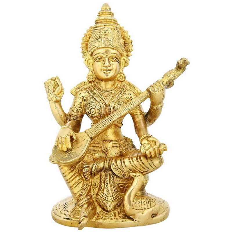 Seated Saraswati Ma Goddess Of Knowledge Music And Art Hinduism Gifts 7 Inches 1.44 Kg