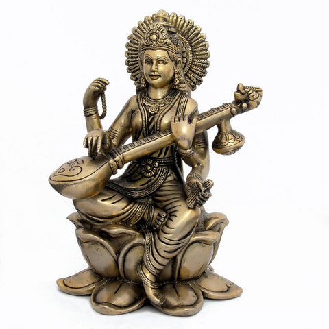 Hindu Goddess Statue Saraswati Idol for Wisdom and Knowledge, H:9.25 Inches, W: 3.7 Kg