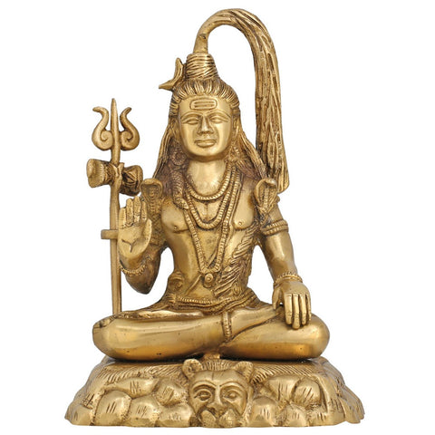 God Shiva Idol for Puja Mandir Temple Hindu Décor Sculpture Brass 8 Inch