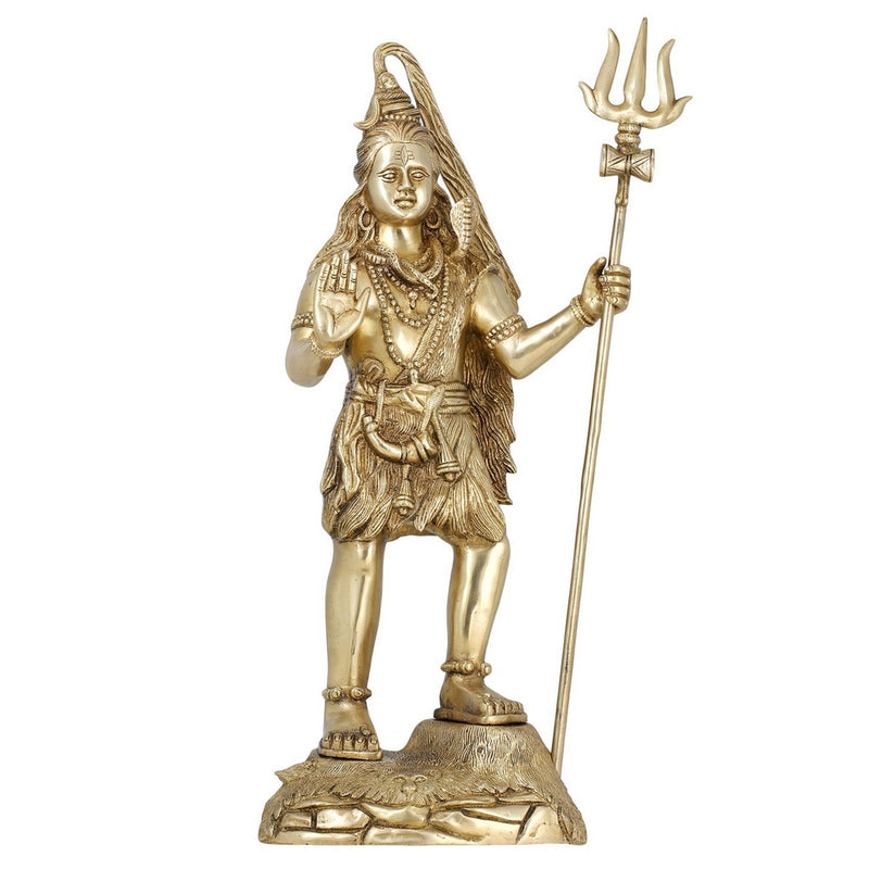 Indian Art Hinduism Shiva Statue Standing Hindu Decor Religious Figurines Large For Puja H:20.5 InchWt:8.62 Kg