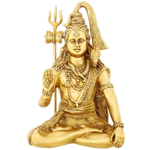 Seated Lord Shiva Idol For Puja Mandir Temple Hindu Décor Brass 12 Inch 4.46 Kg