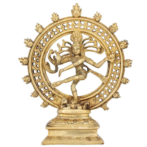 Dancing Deity Shiva Nataraja Décor Hindu Idol for Mandir Temple Brass 8 Inch