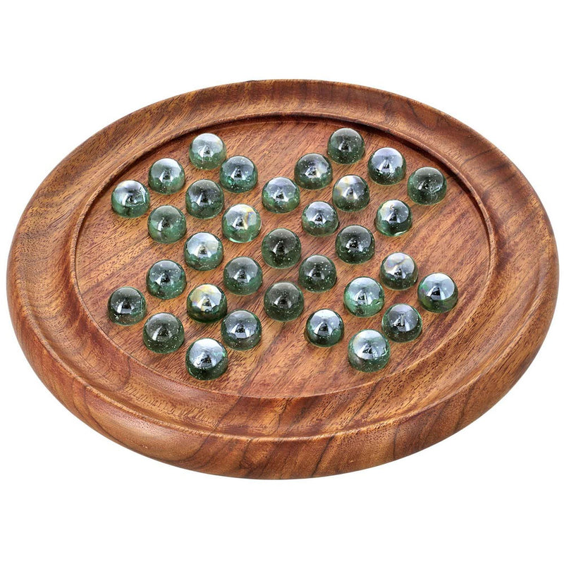 Handmade Indian Round Wooden Game Board Gifts Set with Glass Marbles