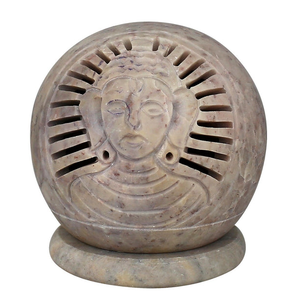 Handmade Buddha Soapstone Tealight Holder - Decorative Candle Holder Globe - Perfect Gift Ideas