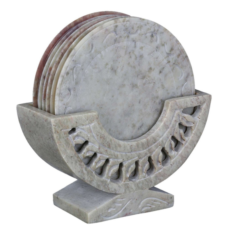 Contemporary Stone Ornament Coasters Holder Set Dining Table Set of 4