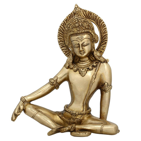 Brass Metal Art Tara Buddha Statue sitting Home Decor Buddhist Gifts 7 Inches