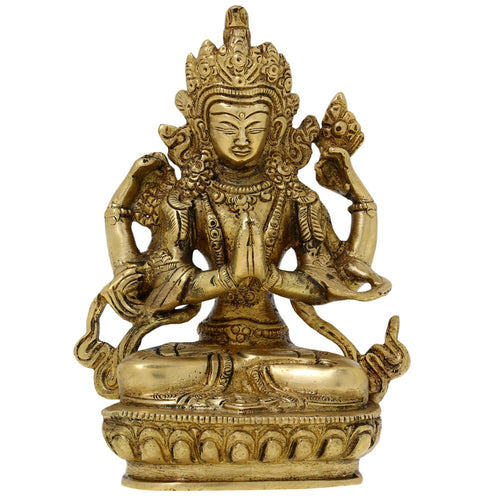 Buddhist Home Decor Sitting Tara Buddha Brass Statue Religious Gifts 5.5 Inches 700 Grams