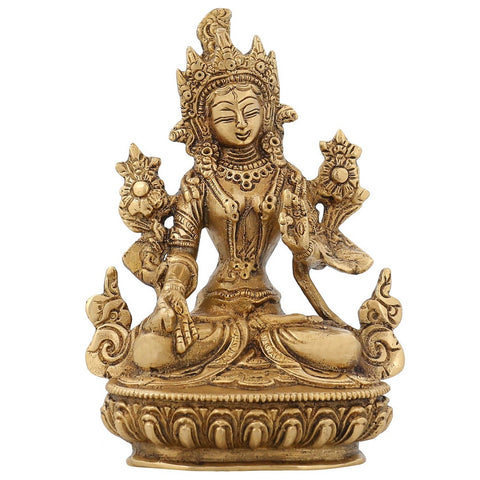 Buddha Tara Statue Buddhist Figurine Religious Decor for Home Brass 6 inch,850 GR