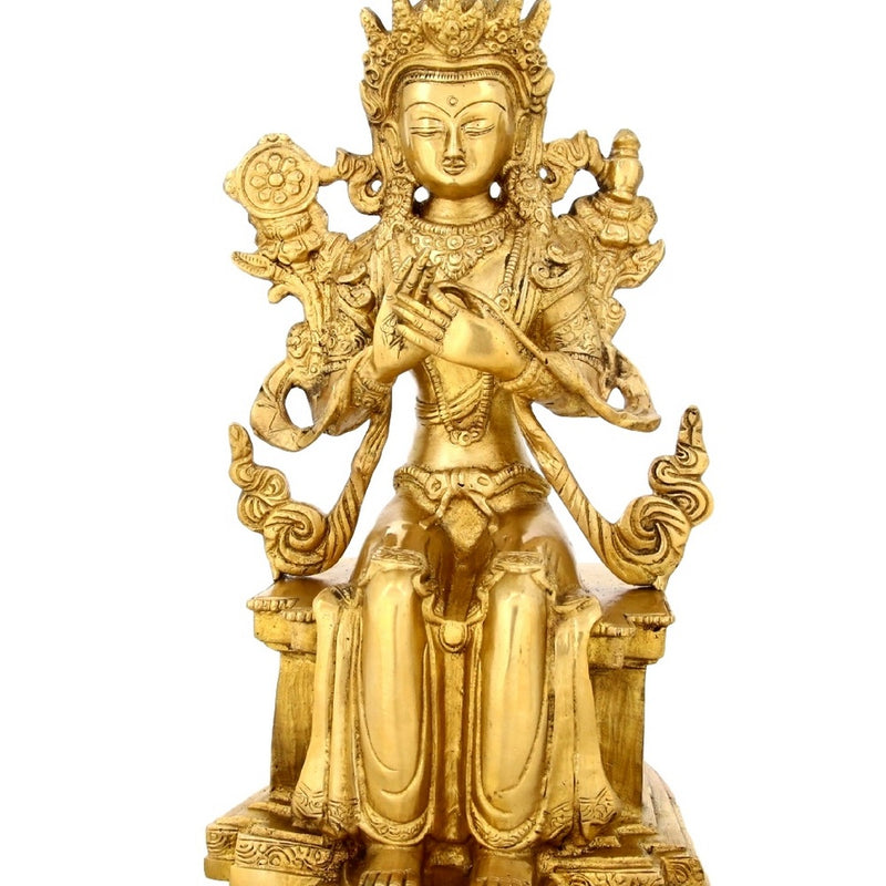 Seated Tara Buddha Statue Buddhist Art Indian Gifts Brass Metal 11 Inches -3.2 Kg