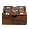 2 in 1 Wooden Game Set Tic Tac Toe Solitaire Board Marble