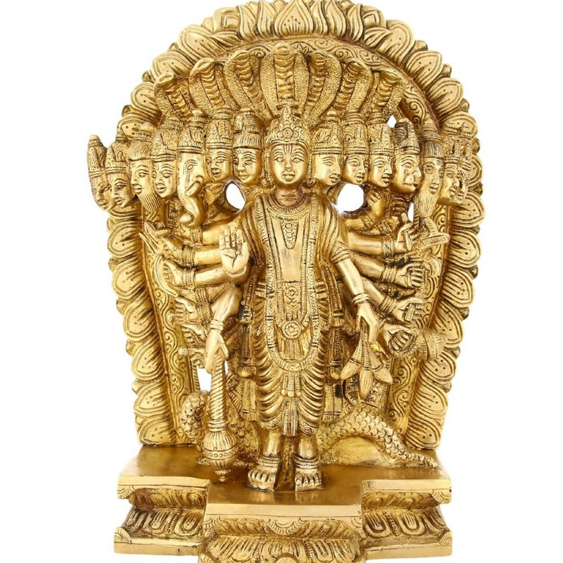 Religious Gifts 15 Headed Lord Vishnu In His Cosmic Magnification Standing Brass Statue 6 Inch -3.7 Kg