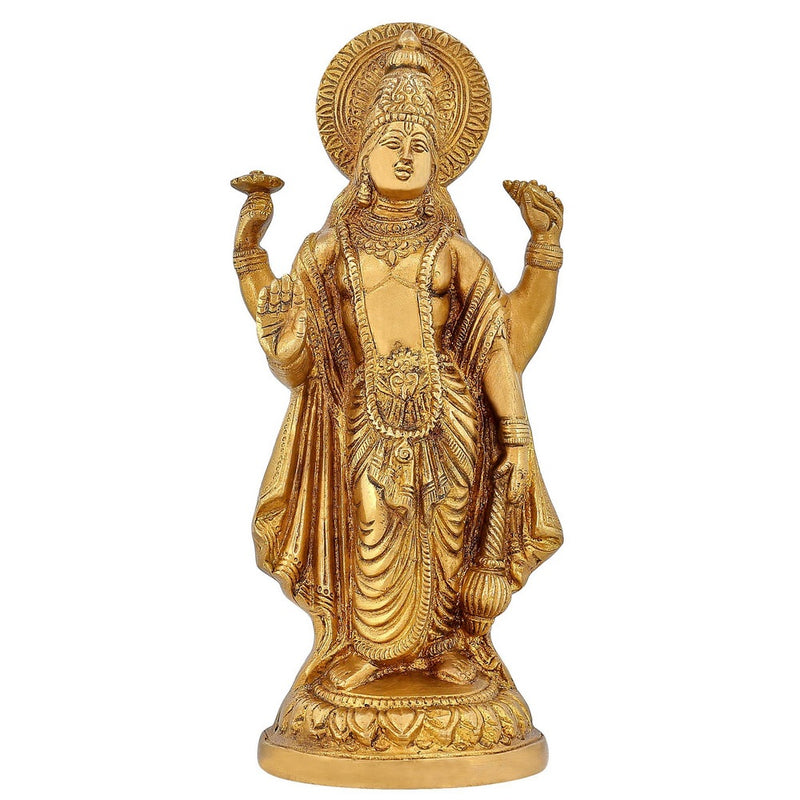 Hindu God Décor Standing Lord Vishnu Brass Statue Religious Gifts 9.5 inch1.8 Kg