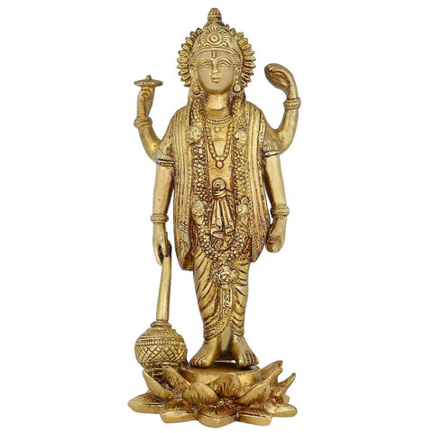 Hinduism Lord Vishnu Standing Religious Brass Statue For Puja Mandir 9 inch,1.3 kg