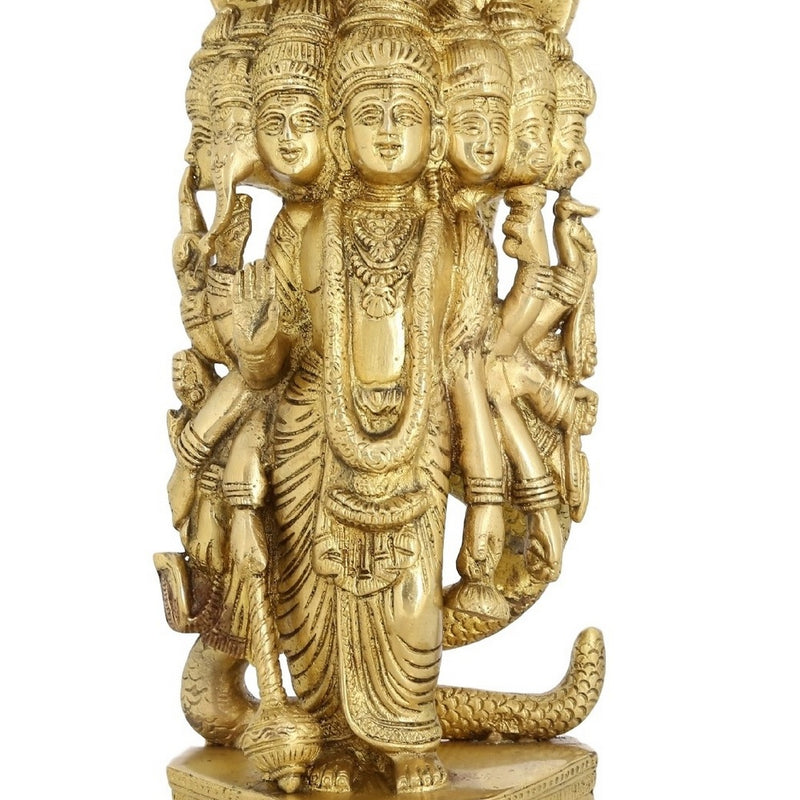 Religious Brass Statue 7 Headed Lord Vishnu In His Cosmic Magnification Standing Large 13 inch -6.15 kg
